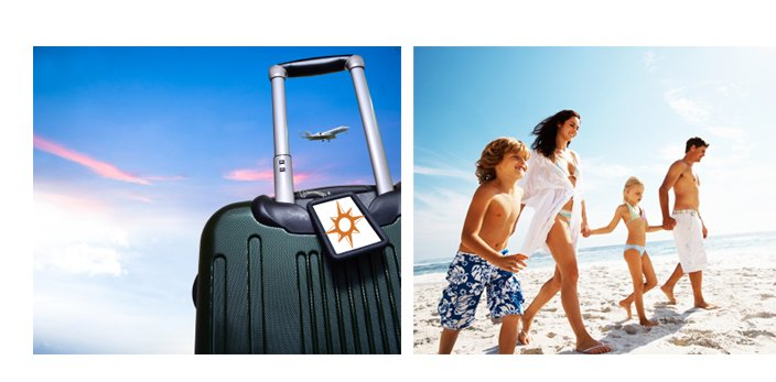 Luggage, family on the beach